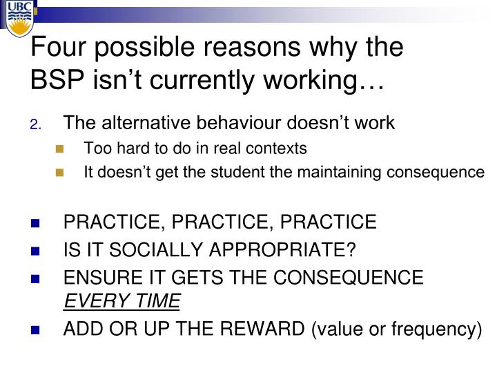 Four possible reasons why the BSP isn't currently working…