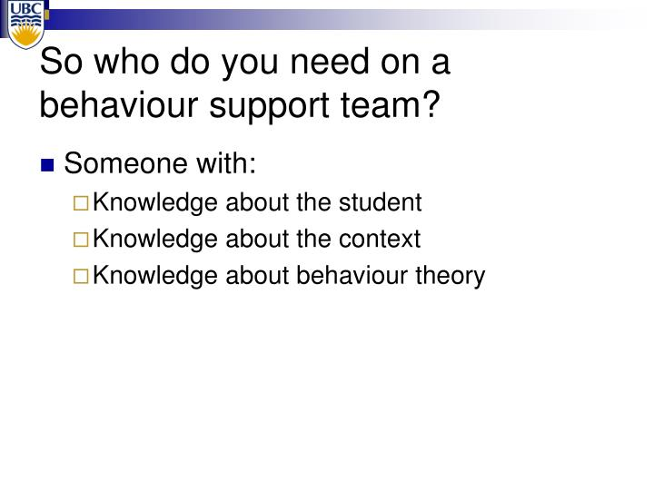 So who do you need on a behaviour support team?