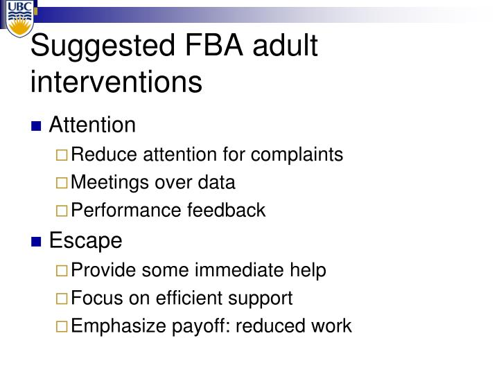 Suggested FBA adult interventions