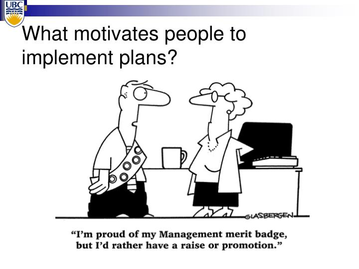 What motivates people to implement plans?