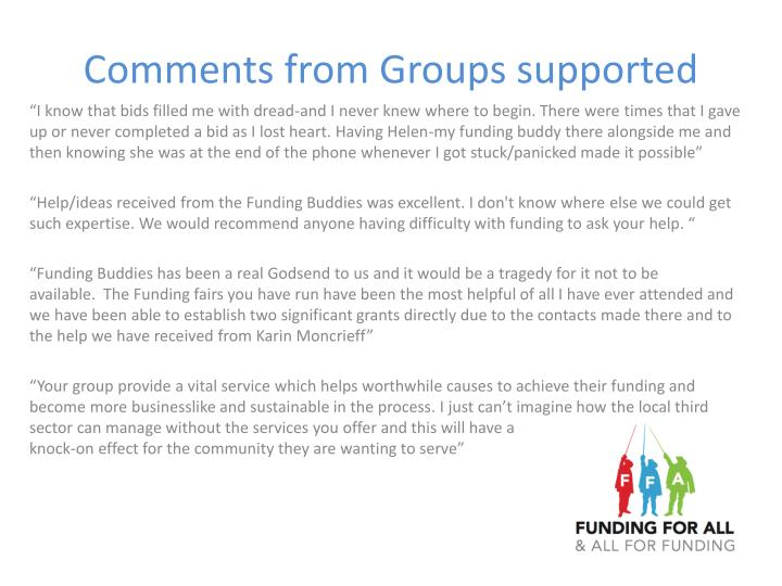 Comments from Groups supported