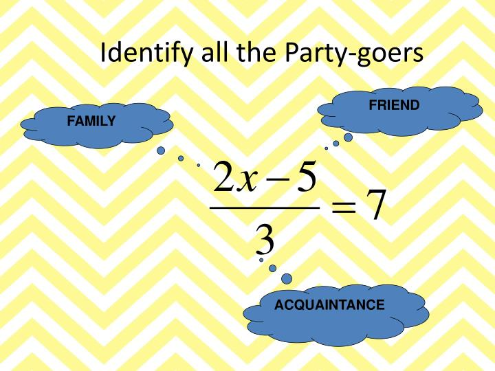 Identify all the Party-goers