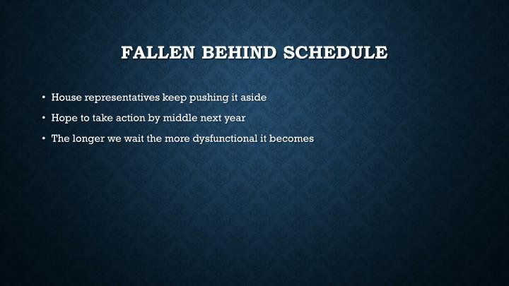 Fallen Behind schedule