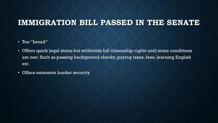 Immigration bill passed in the senate