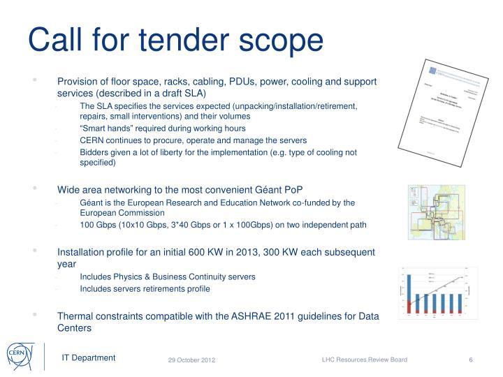 Call for tender scope