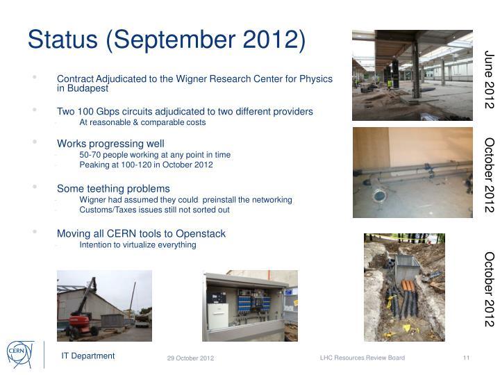 Status (September 2012)