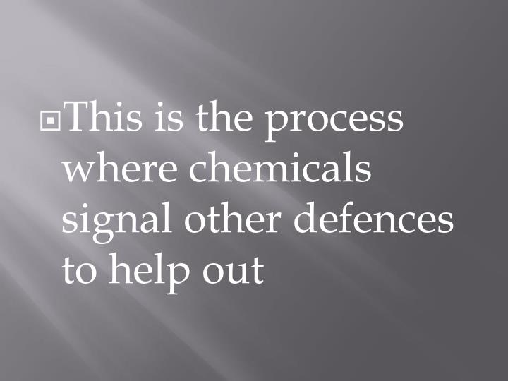 This is the process where chemicals signal other defences to help out