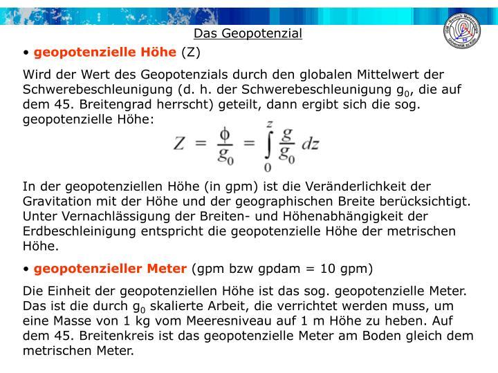 Das Geopotenzial