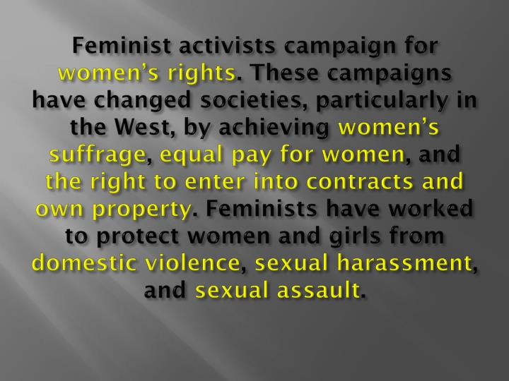 Feminist activists campaign for