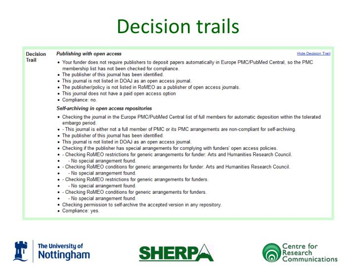 Decision trails