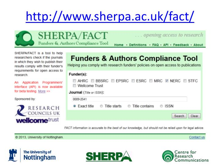 http://www.sherpa.ac.uk/fact/