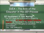 idea the role of the educator in the iep process
