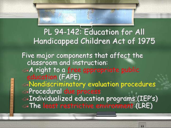 PL 94-142: Education for All Handicapped Children Act of 1975