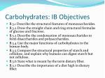 carbohydrates ib objectives