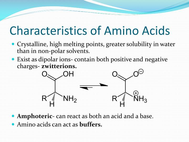 Characteristics of Amino Acids