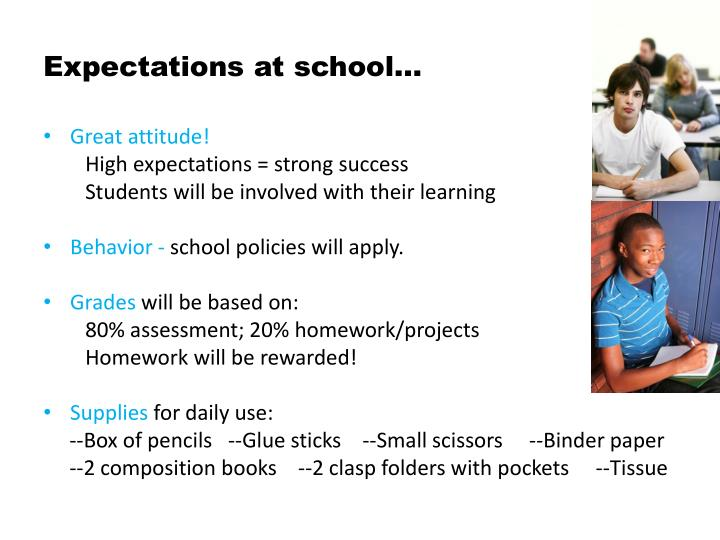 Expectations at school…