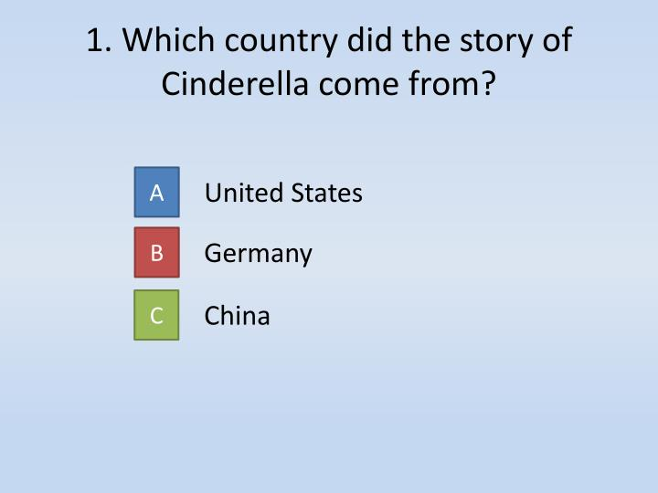 1. Which country did the story of Cinderella come from?