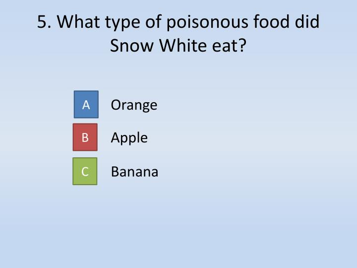 5. What type of poisonous food did Snow White eat?