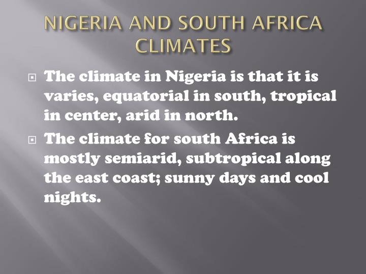 Nigeria and south africa climates