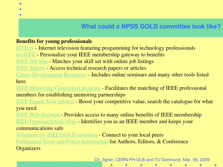 What could a NPSS GOLD committee look like?