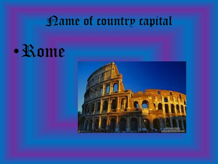 Name of country capital