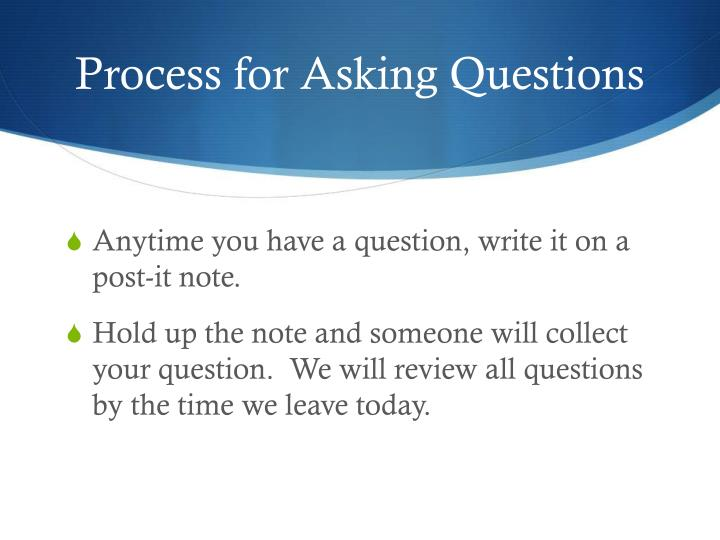 Process for Asking Questions