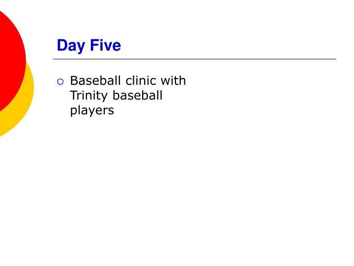 Baseball clinic with Trinity baseball players