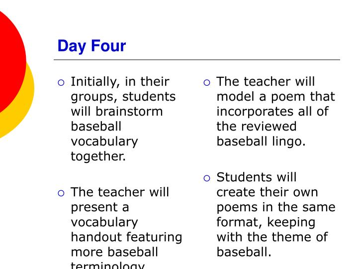 Initially, in their groups, students will brainstorm baseball vocabulary together.