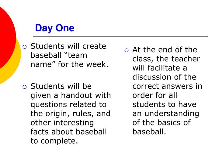 """Students will create baseball """"team name"""" for the week."""