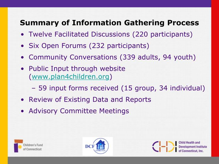 Summary of information gathering process