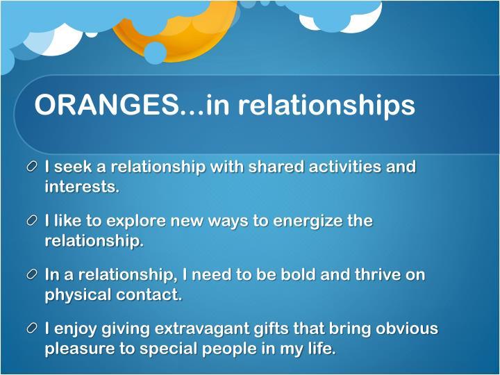 ORANGES...in relationships