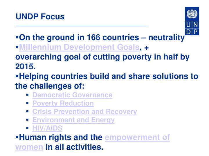 UNDP Focus