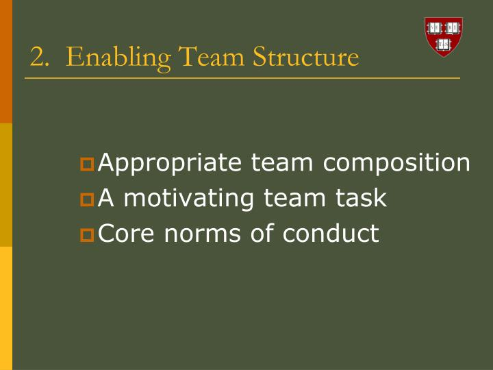 2.  Enabling Team Structure