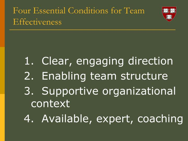 Four Essential Conditions for Team Effectiveness