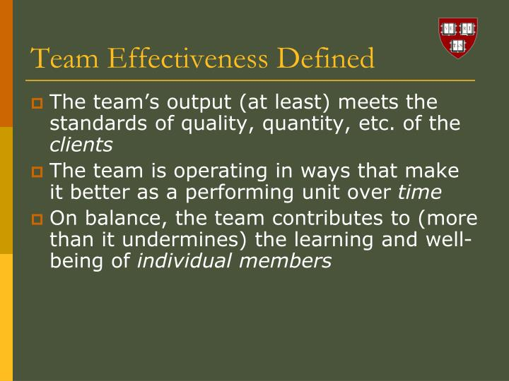 Team Effectiveness Defined