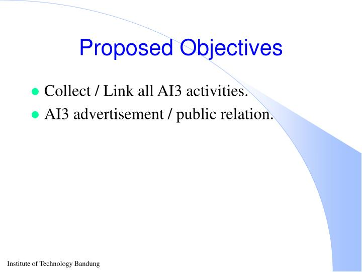 Proposed Objectives