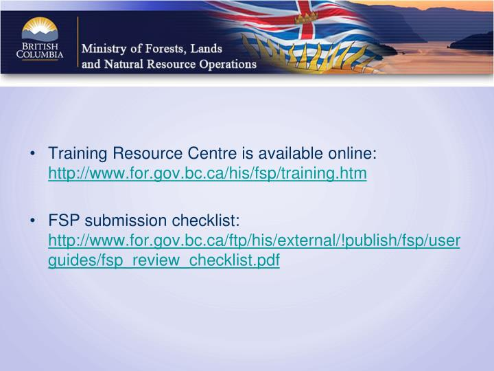 Training Resource Centre is available online: