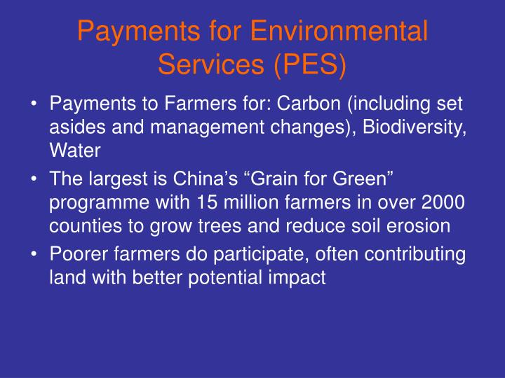 Payments for Environmental Services (PES)