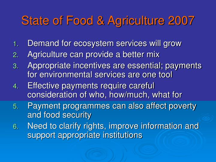 State of Food & Agriculture 2007