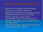 state of food agriculture 2007