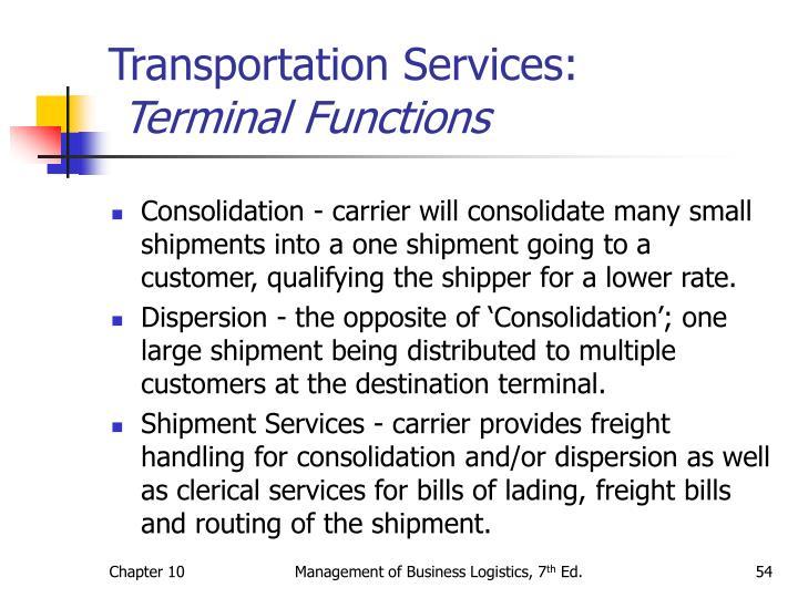 Transportation Services: