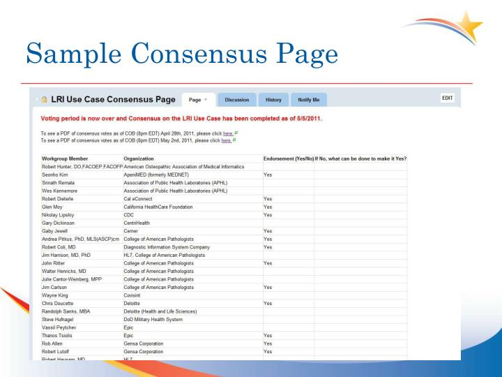 Sample Consensus Page