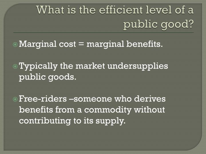 What is the efficient level of a public good?