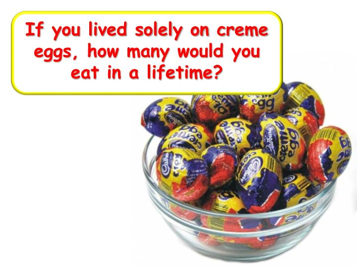 If you lived solely on creme eggs, how many would you eat in a lifetime?