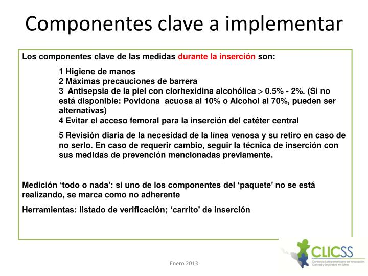 Componentes clave a implementar