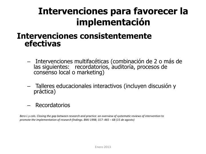 Intervenciones para favorecer la implementación