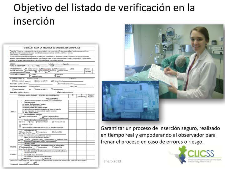 Objetivo del listado de verificación en la inserción