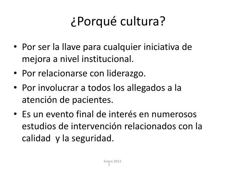 ¿Porqué cultura?