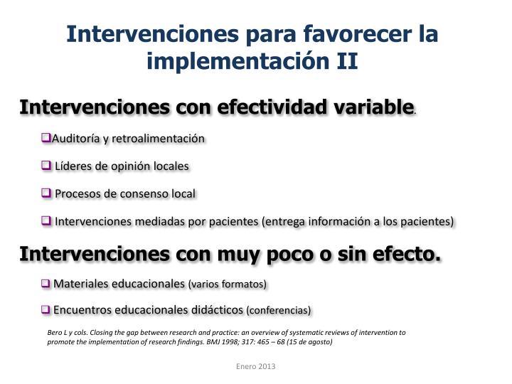 Intervenciones para favorecer la implementación II