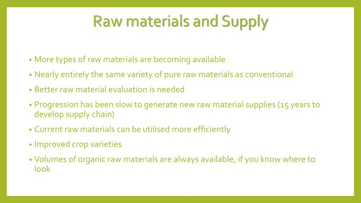 Raw materials and Supply